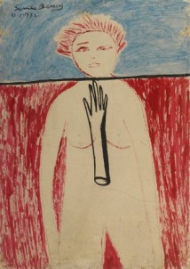 THE LINE OF FATE THAT CANNOT BE DISTORTED (SELF-PORTRAIT) Oil on hardboard 100 x 70 cm, 1972