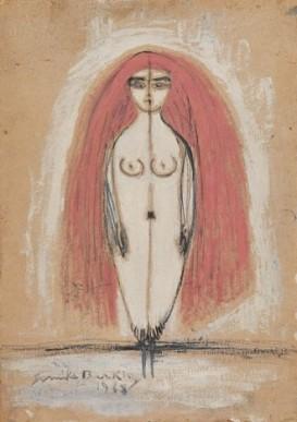 STANDING (SELF-PORTRAIT) Oil on hardboard 100 x 69 cm, 1968